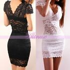 Sexy Lady Womens Lace Corset Sheer Dress Short Sleeve Mini Party Clubwear Skirt