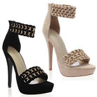 WOMENS PLATFORM LADIES BRAIDED CHAIN ANKLE STRAPS STILETTO HIGH HEEL SIZE 3-8