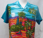 NEW MENS HAWAIIAN SHIRT - BOATS TOWERS (blue)  M,L,XL,XXL for stag, party etc