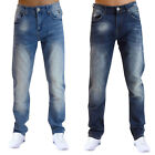 Mens Jeans Crosshatch Joggan New Designer Stretch Fit Faded Wash Denim Trousers