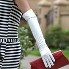 50cm long elbow length genuine sheep white color evening leather gloves