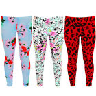 Childrens Leopard Floral Flower Casual Comfy Stretch Trousers Crepe Leggings