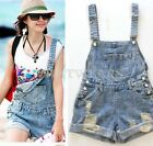 Fashion Womens Vintage Cute Loose Denim Jeans Short Overalls With Pocket S~L FKS
