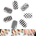 Black/White Foils Nail Stickers Decal Design Manicure Tips Wraps DIY Decoration