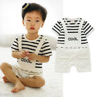 New Baby Border Striped Layered Ovelall Romper #2092