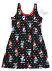 Authentic Disney Minnie Mouse Polka Dot Nightgown Juniors Black FREE SHIP