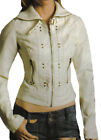 Ladies Studded White Leather Jacket Sz XS-3XL or Custom Made