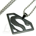 Stainless Steel Man of SUPERMAN BADGE S Symbol Letter Pendant Necklace Black A31