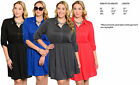Vogue Womens PLUS SIZE 3/4 Sleeve Stretch SOFT Casual Shirt Mini Dress XL-3XL