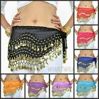 Belly Dance Gypsy Hip Scarf 128 Coins Bead Double Row Belt Skirt Costume FKS