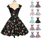 Vintage style Floral Rockabilly Swing 50s 60s Gothic Polka Pinup HOUSEWIFE Dress