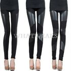Fashion Sexy Women Stitching Stretchy Faux Leather Black Leggings Pants FKS