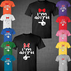Mickey Disney couple matching t shirts I'm With Him I'm with Her Bows cute tee
