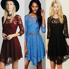 3/4 Sleeve Eyelash Trim Women's Cocktail Prom Ball Party Lace Dress Bridesmaids