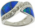 Sterling Silver Blue Opal & White CZ Ring
