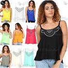 Womens Ladies Diamante Studded Camisole Strappy Flared Swing Tank Vest Dress Top