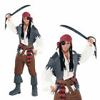 Mens Captain Castaway Adults Pirate Buccaneer Fancy Dress Party Costume Outfit