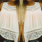 Fashion Ladies Lace Tank Top Sleeveless T-shirt Vest Summer Blouse Tee Tops