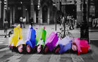 "Vespa Scooter Domino Colour Splash Canvas Print Wall Art Premium Picture 48""x20"""