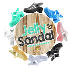 Women's Chunky High Heels Jelly Round Toe Strappy Plastic Caged Gladiator Sandal