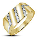 0.49CT WIDE BAND MENS AMERICAN DIAMOND RING IN TWO TONE GOLD 925 STERLING SILVER