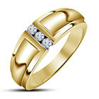 18K Gold Over 925 Sterling Silver CZ Luxurious Simple Three Stone Band Ring_3 ST