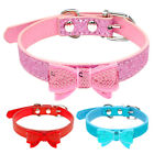 New Cute Bow Leather Puppy Pet Dog Collars For Small Dogs Pink Blue Red