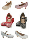 Brand New Kids Girl's Glitter Rhinestones Mary Jane Med Heel Dress Pumps Shoes