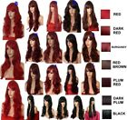 RED Wig Natural Long Curly Straight Wavy Synthetic Wig Women Fashion Party UK