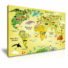 ANIMAL MAP for Kids Nursery Canvas Wall Art Picture Print ~ More Size