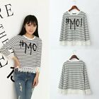 Fashion Striped Lace Trim Womens Long Sleeves Casual Tee T Shirt Blouse Tops FKS