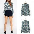 Womens Floral Printing Long Sleeves Simple Casual T Shirt Tee Blouses Tops FKS
