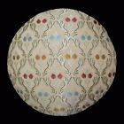 We402n Beige Damask Flower Chenille Round Shape Throw Pillow Case/Cushion Cover