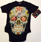 NWT TAGS BLACK  BODYSUIT OR TODDLER TEE COLORFUL ROSES, CROSS DAY OF THE DEAD