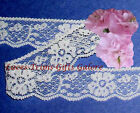 """5 Yards Lace Trim White Floral 1-1/8"""" Scalloped H21AV Added Items Ship No Charge"""