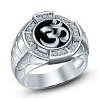 "Classy Look White Gold Plated 925 Sterling Silver Men's Spacial Comely ""Om"" Ring"