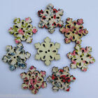 Novelty Wooden Buttons - Lge Snowflake - Shabby Chic - Christmas - Cards/Crafts