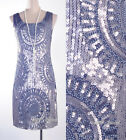 Great Gatsby 1920's Flapper Dress Gray Party Sequin Bead Downton Abbey AF 3251