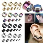 2 pcs Stainless Steel Screw Ear Gauges Flesh Tunnels Plugs Stretchers Expander