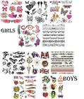 5 x Sheets of Lovely Girls or Boys Children Temporary Tattoos Over 40 Sheets NEW