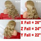 SANDY BLONDE Long Curly Layered Half Wig Hair Piece Ladies 3/4 Wig Fall Clip in