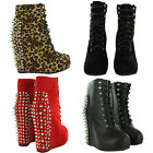 NEW LADIES STUDDED SPIKE PLATFORM WEDGE ANKLE BOOTS WOMENS HIGH HEEL SHOES SIZES