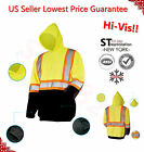 High Visibility Hi Vis Pull Over Sweatshirt Class 3 Safety Hoodie Road Work Lime