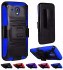 For HTC Desire 520 Dual Layer Heavy Duty Side Kickstand Holster Cover Case