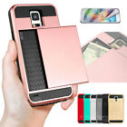 Card Pocket Slide ShockProof Slim Wallet Case Cover for Samsung Galaxy Galaxy S5
