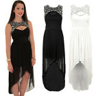 Womens Sleeveless Diamante Cut Out High Low Gathered Maxi Chiffon Fishtail Dress