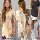 UK New Fashion Womens Ladies Lace Casual Loose Tops Short Sleeve T Shirt Blouse