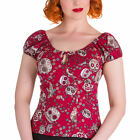 Hell Bunny Red Sugar Skull Love Das Murtas Top Sizes 8/XS - 22/4XL