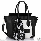 Womens Ladies Designer Leather Style Celebrity Tote Smile Skull Shoulder HandBag