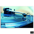 Turntables Decks BLUE DJ Club BOX FRAMED CANVAS ART Picture HDR 280gsm